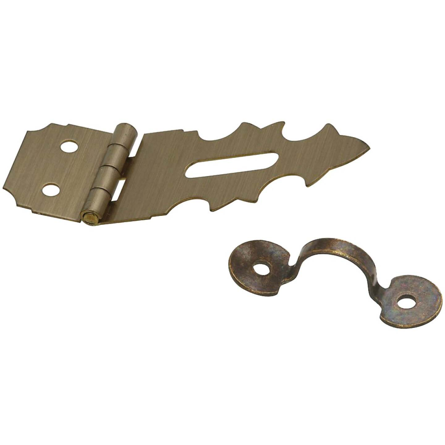 National 5/8 In. x 1-7/8 In. Antique Brass 2-Hole Decorative Hasp Image 1