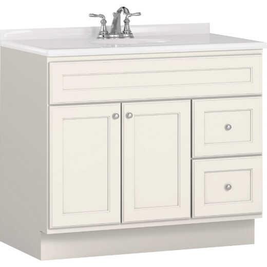 Bertch Northbrook 36 In. W x 34-1/2 In. H x 21 In. D White Vanity Base, 2 Door/2 Drawer