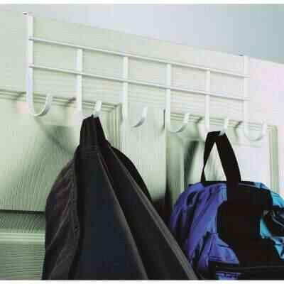 Spectrum White Over-The-Door Hook Rail with 6 Hooks