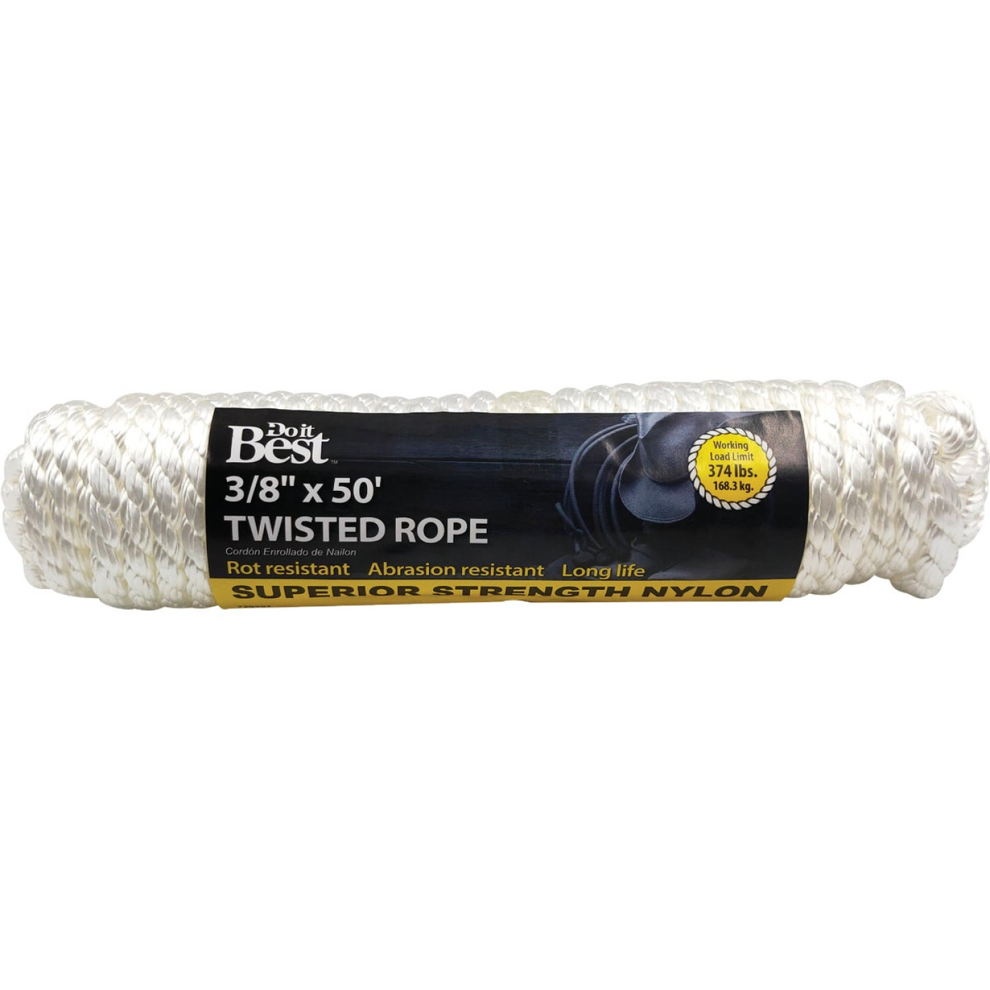Do it 3/8 In. x 50 Ft. White Twisted Nylon Packaged Rope Image 1