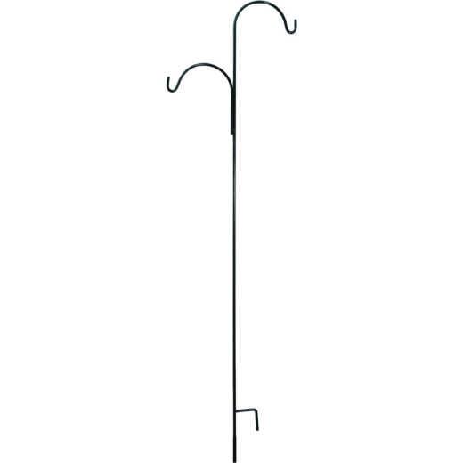 American Gardenworks 91 In. Black Steel Offset Double Hanger Shepherd Hook